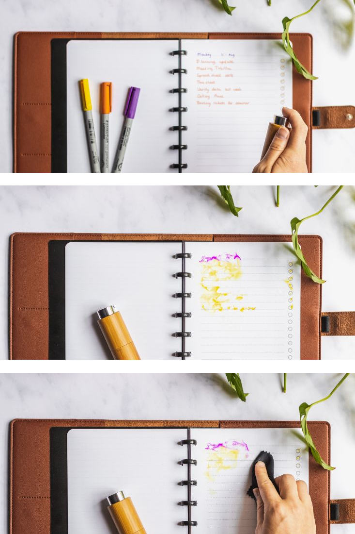 Three-panels demonstrating how to use the spray to erase writing in Asoki erasable notebooks