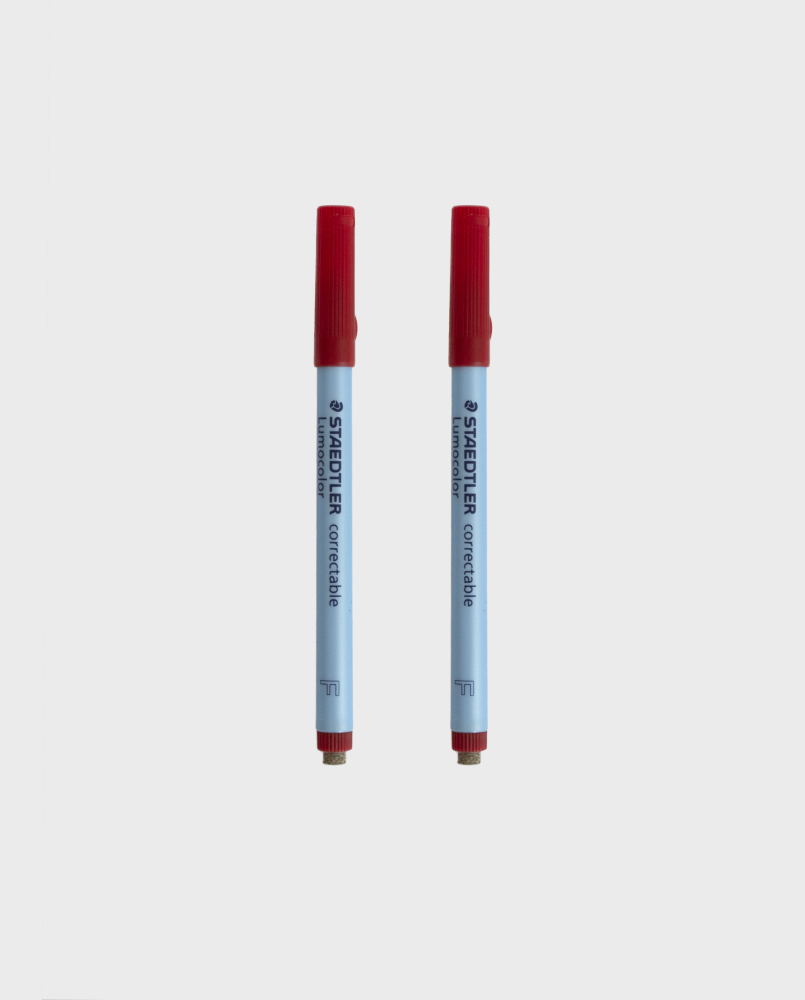 Two red erasable colored pens for the Asoki Planner