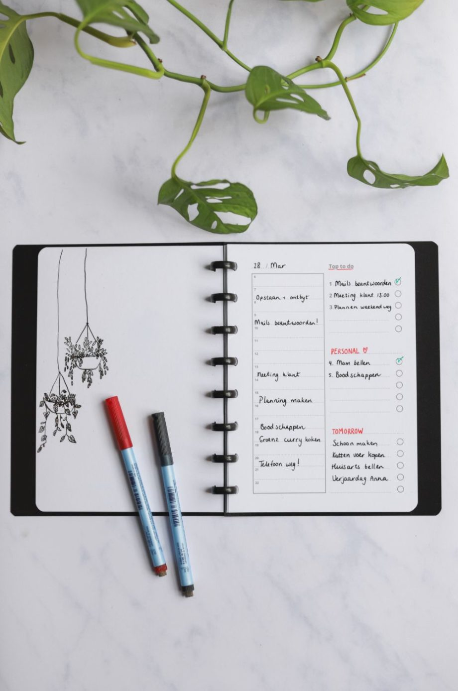 Asoki Planner with erasable whiteboard daily planner page