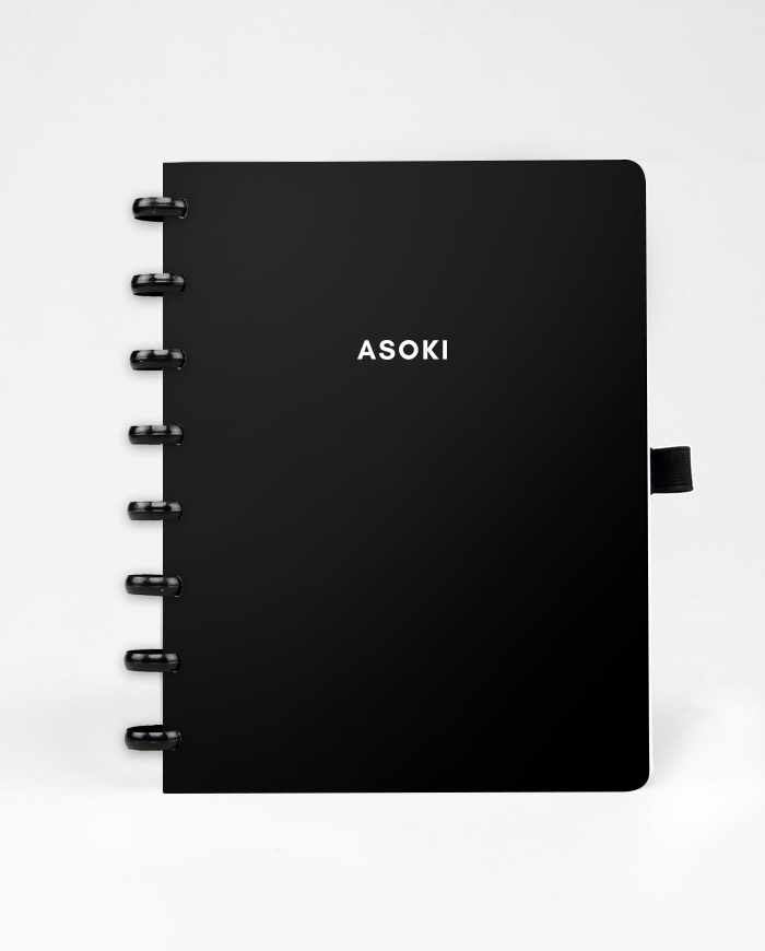 Asoki black planner with black ringbinding