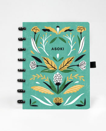 Asoki planner with black ringbinding and floral cover design