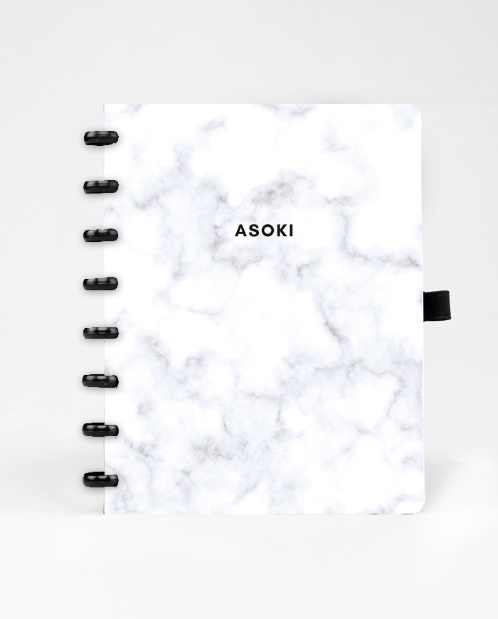 Asoki marble notebook cover with black ringbinding and pen loop
