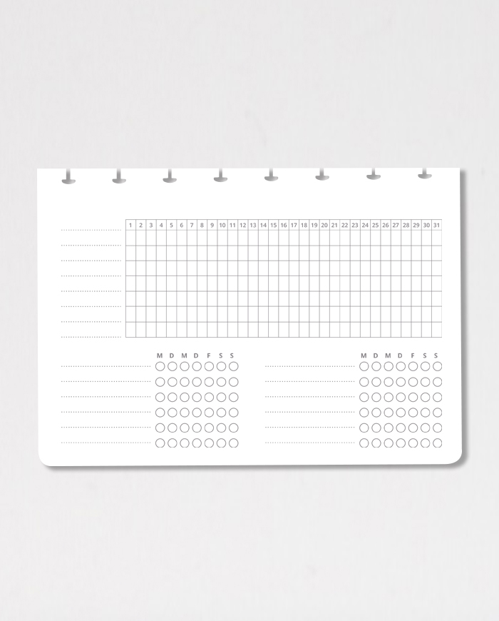 Empty habit tracker page on grey background