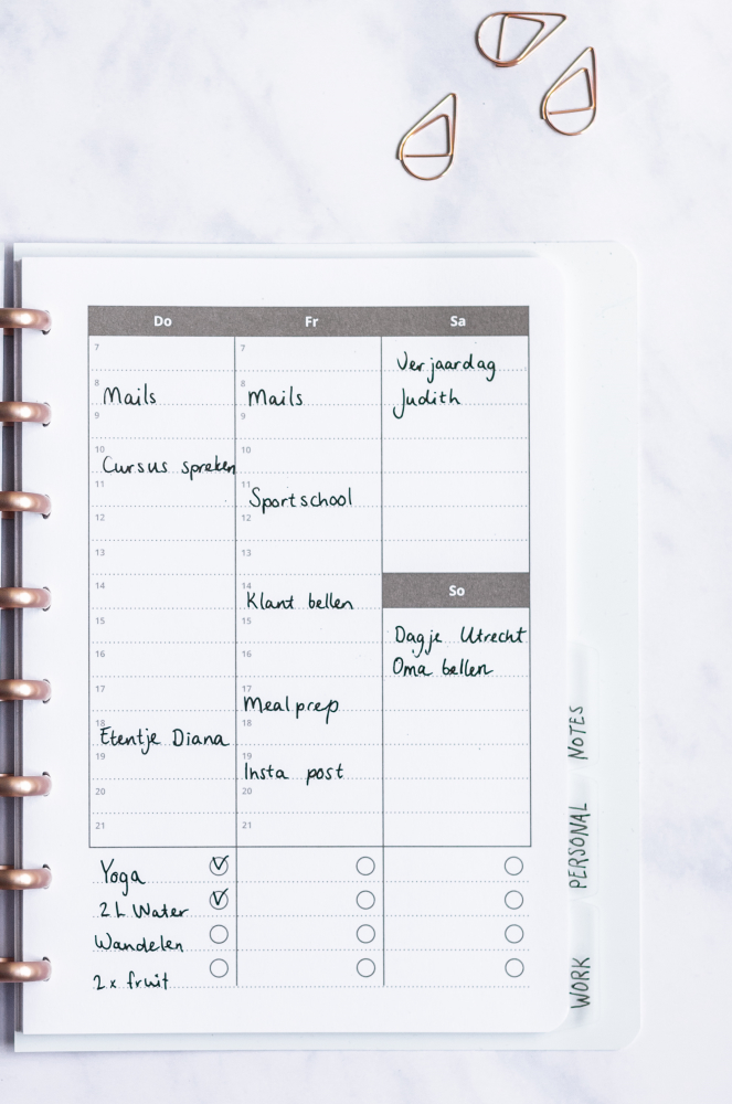 Open half filled-in planner with rose-gold discbinding on marble background
