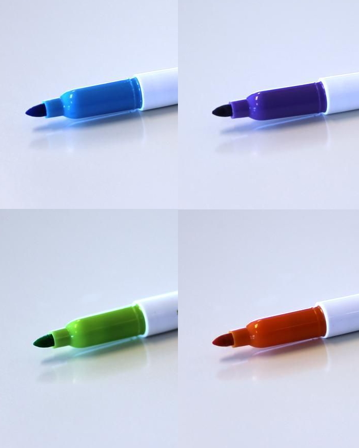 4 Panels each showing a different coloured whiteboard marker