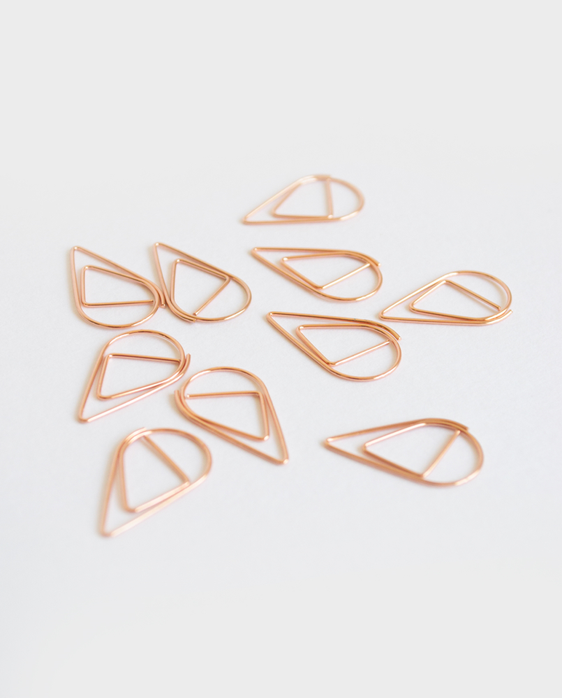 Asoki teardrop paperclips rose gold small