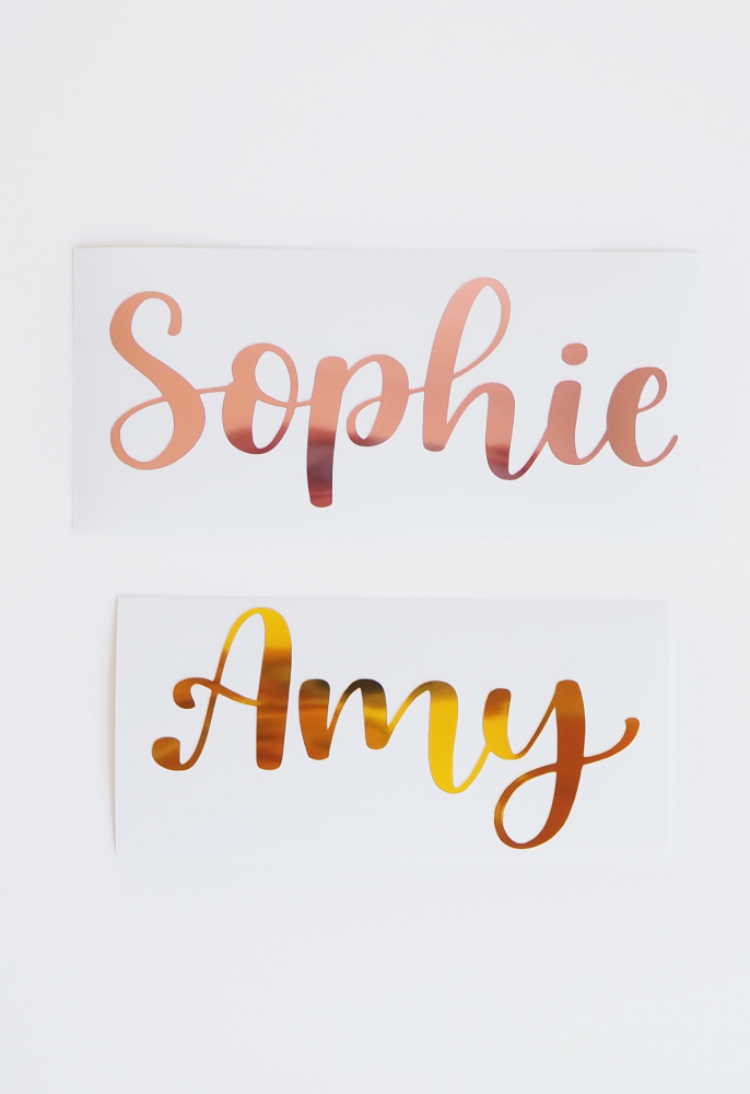 Custom calligraphy foil name sticker in rose and gold