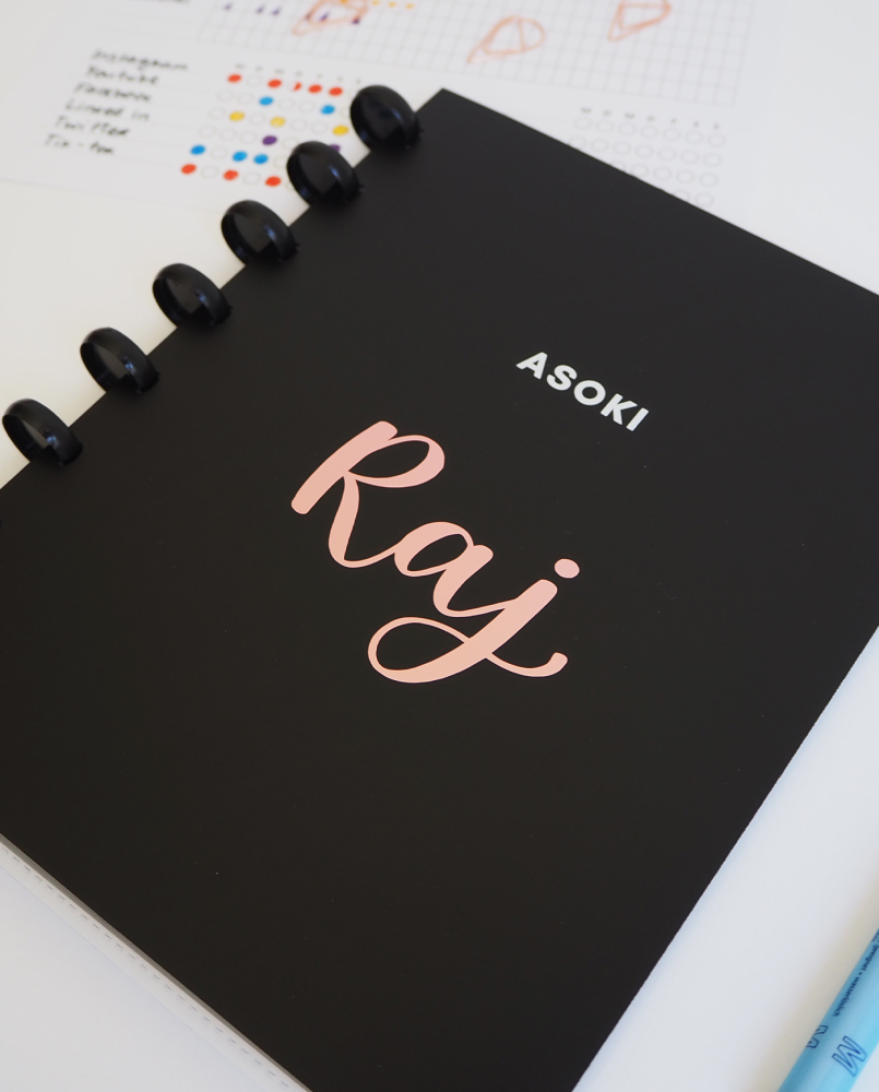 Customised Asoki black notebook with rose writing