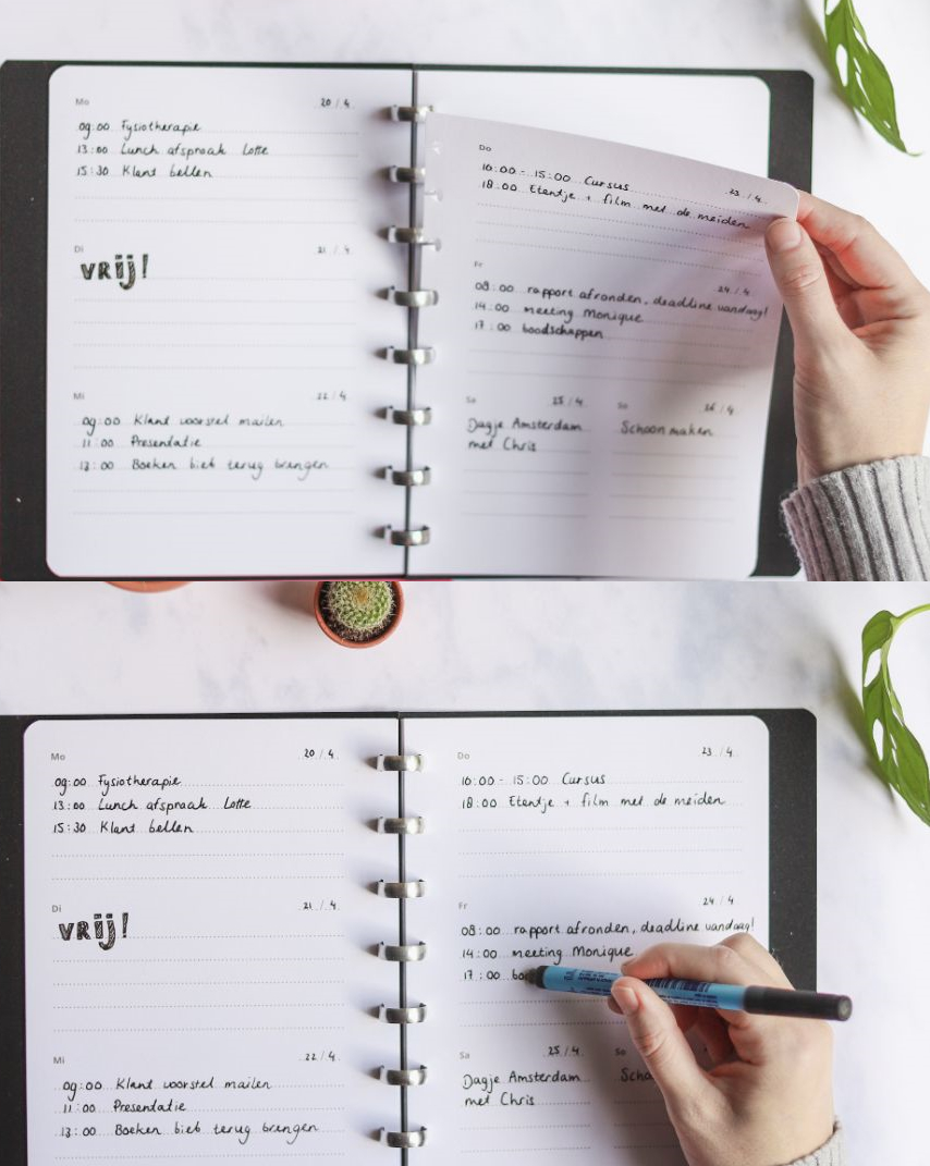 Two panels demonstrating how to remove page from reusable notebook and how to write