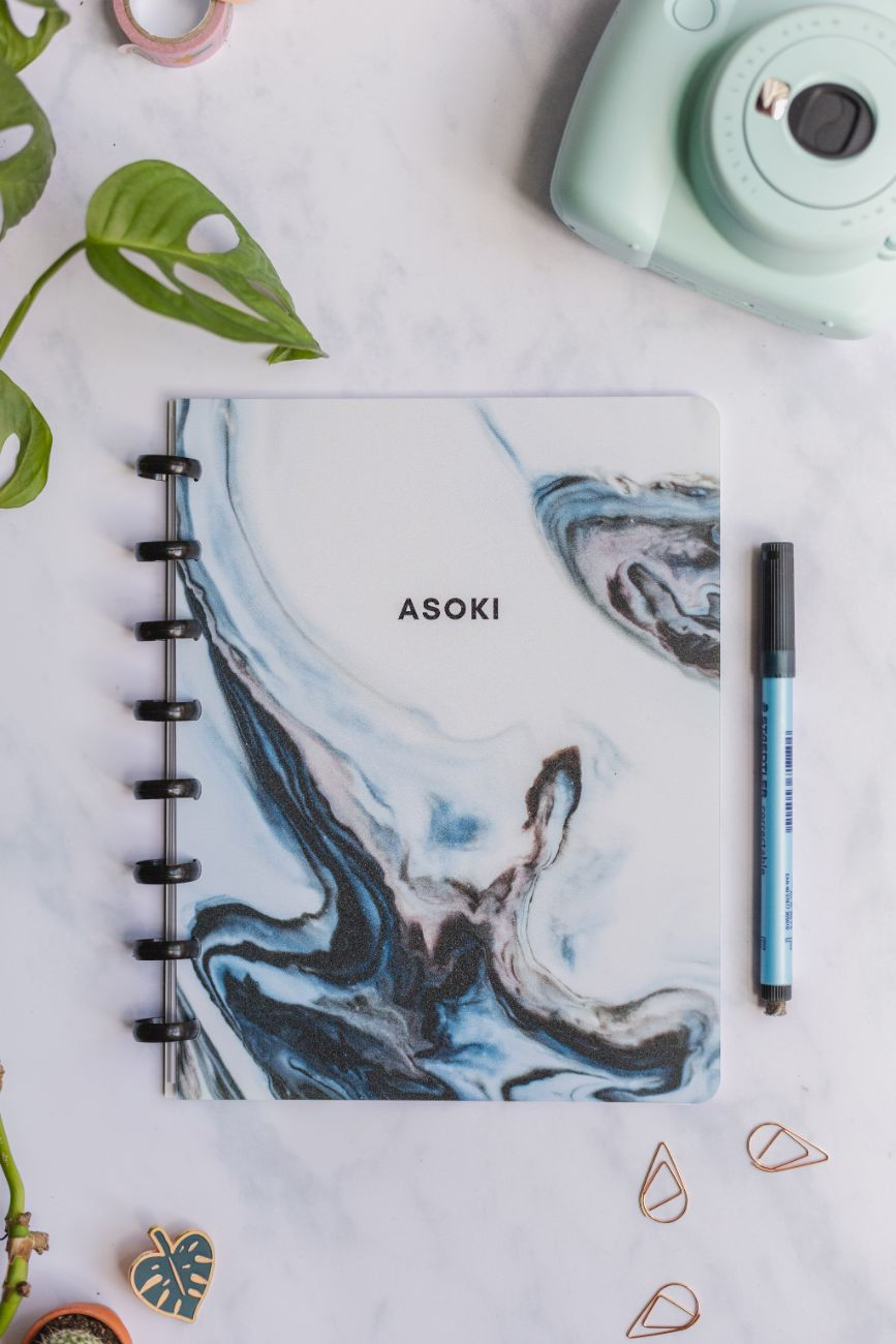 Asoki Planner erasable whiteboard notebook and planner A5 marbled blue design