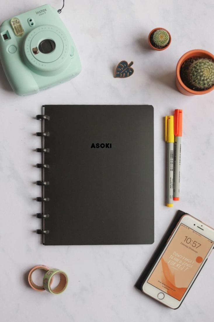 Erasable Notebook Asoki Planner Black medium thickness