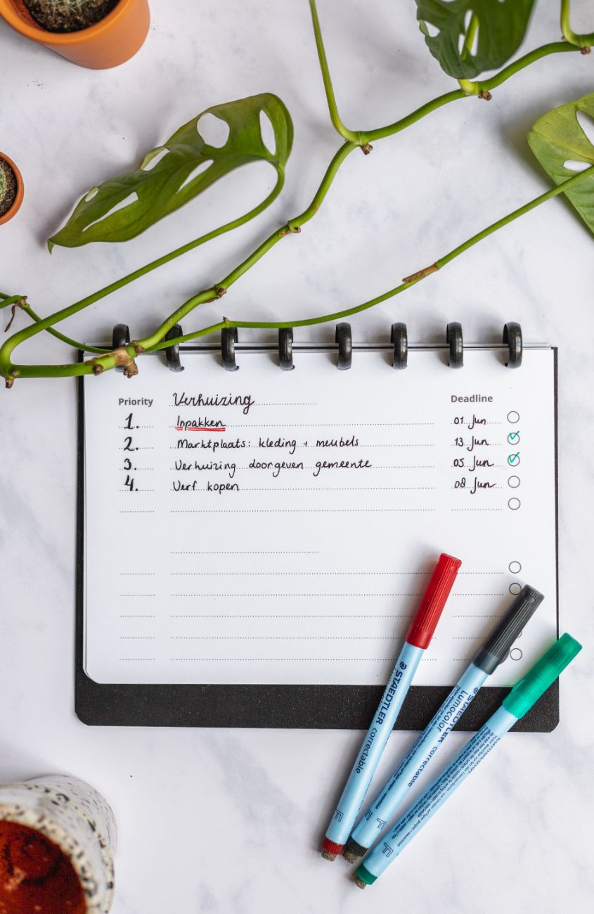 Erasable to do list with priorities and deadlines for your discbound erasable A5 notebook