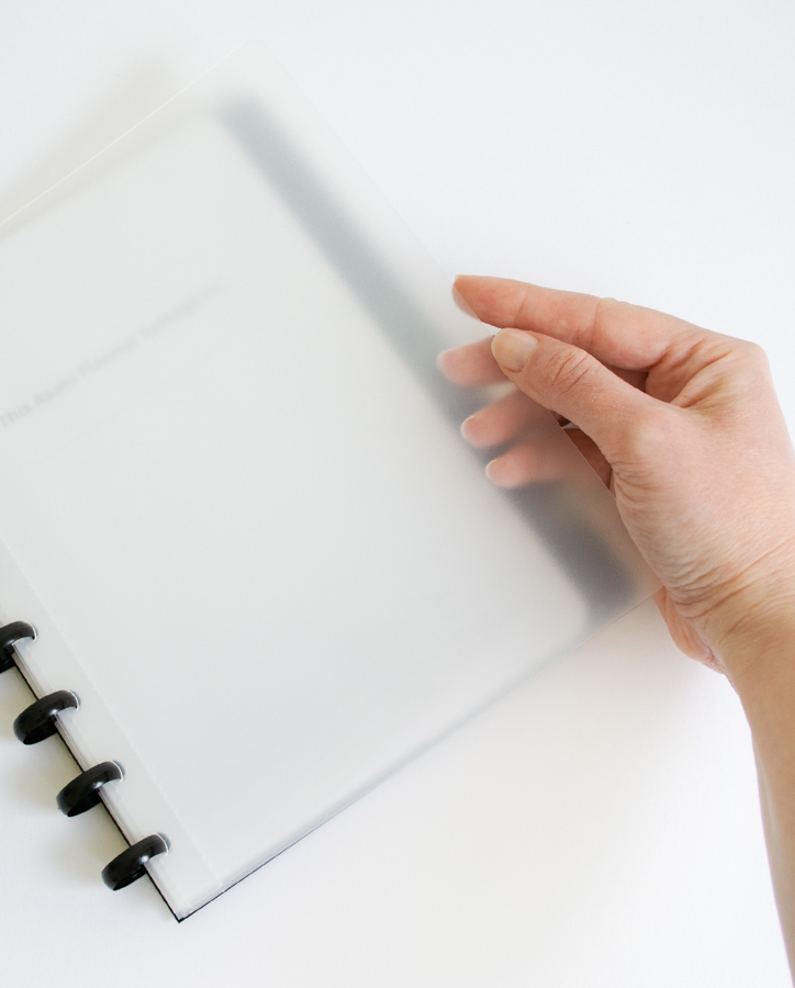 Erasable whiteboard noteobook and planner with customisable transparent cover
