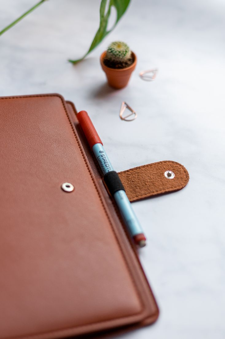 Reusable notebook with a brown, vegan cover