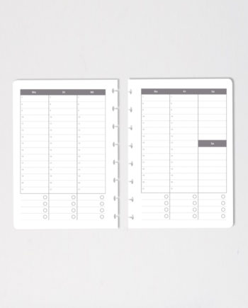 Vertical erasable calendar notebook pages