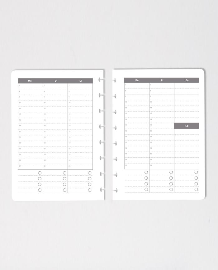 Vertical erasable calendar notebook pages