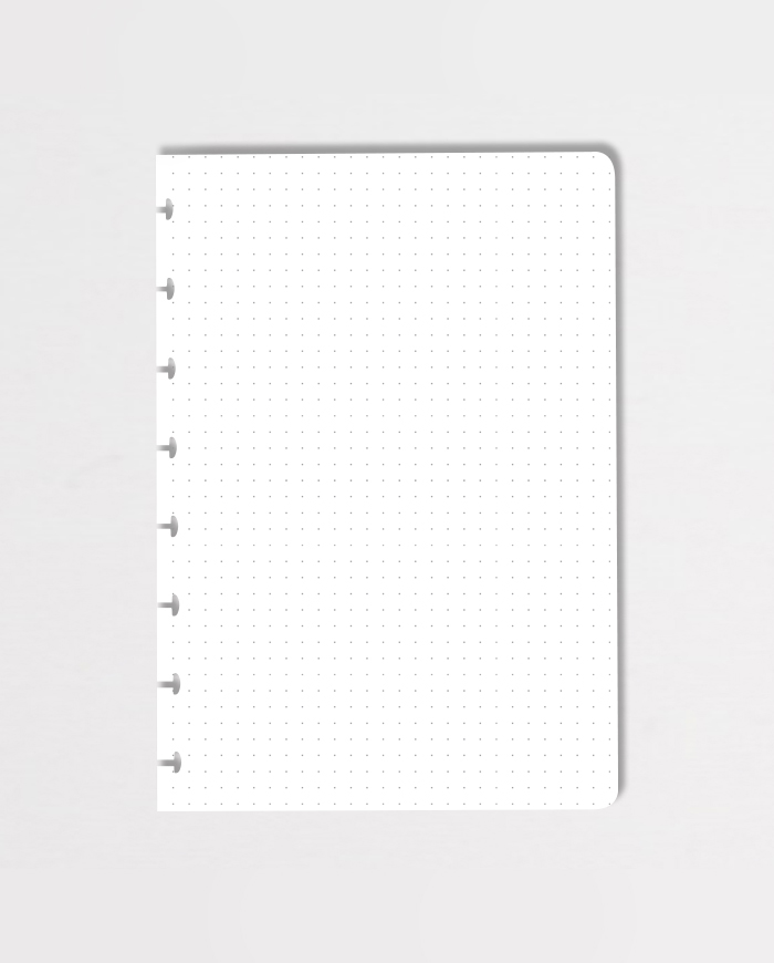 Erasable dot-grid notebook page on grey background
