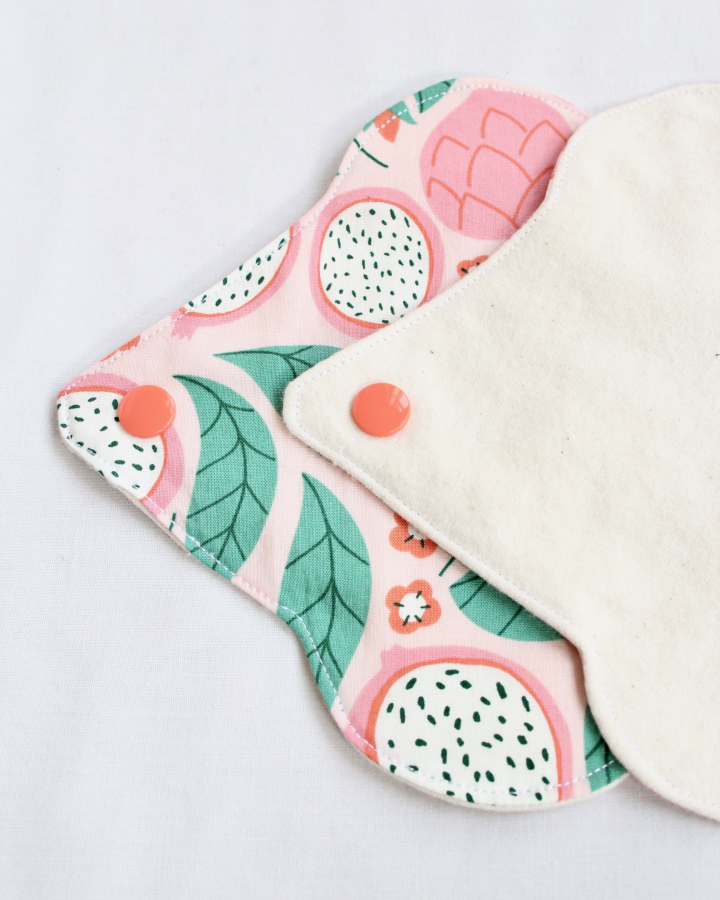 Reusable panty liner in a colourful design, made of organic materials