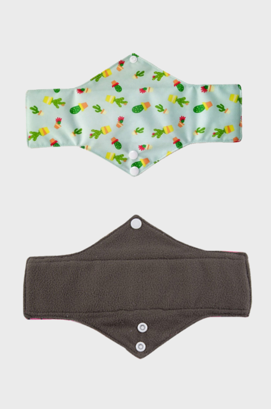 Reusable period pads fleece in dark grey and coloured pattern with white buttons