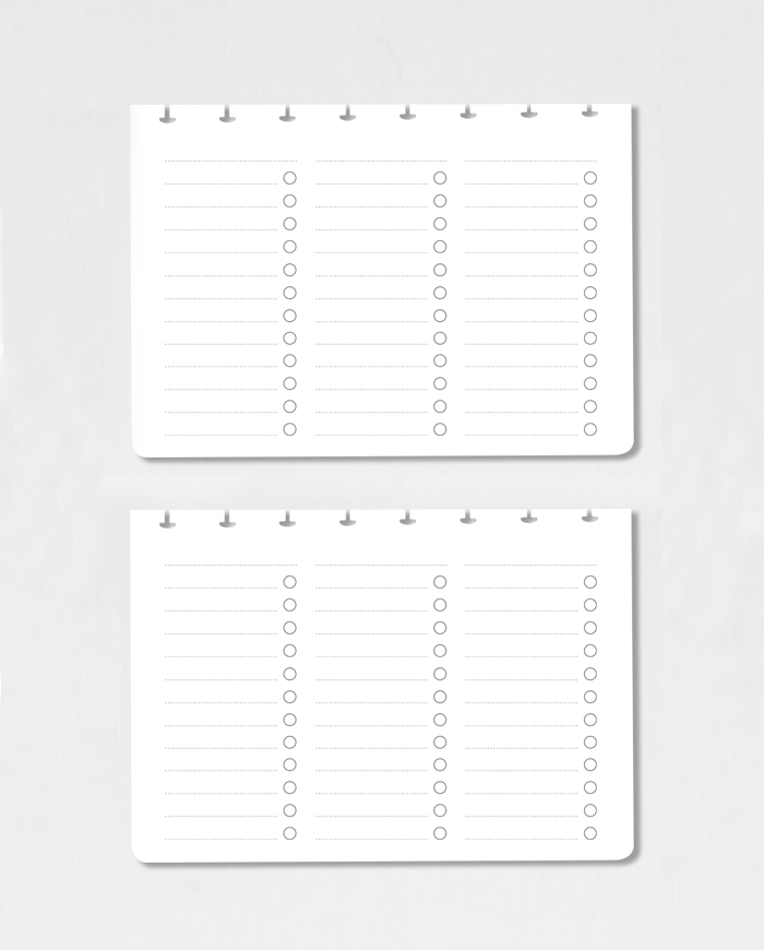 Set of horizontal to-do list pages on grey background