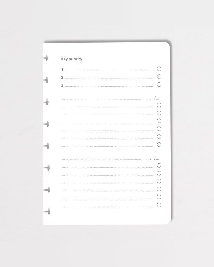 A5 to-do list priority on grey background