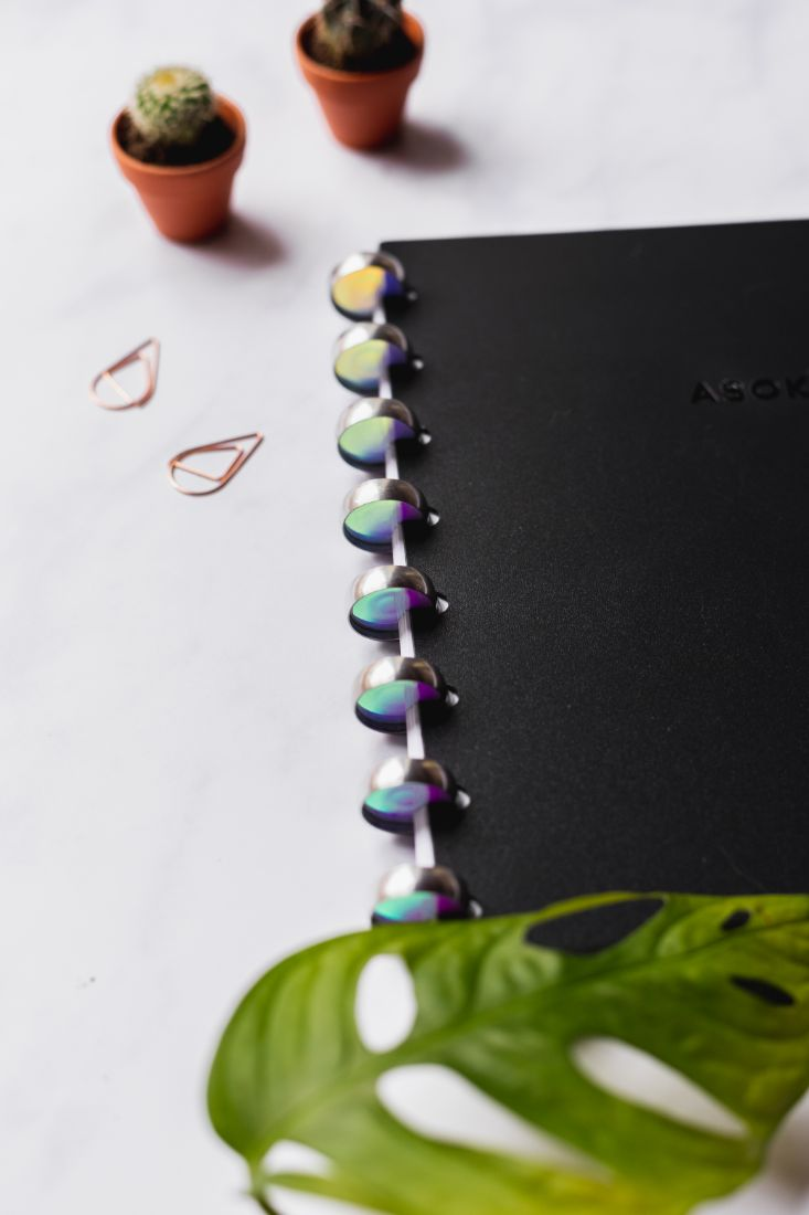 Stylish mirror stickers for the ring binding of your Asoki Planner