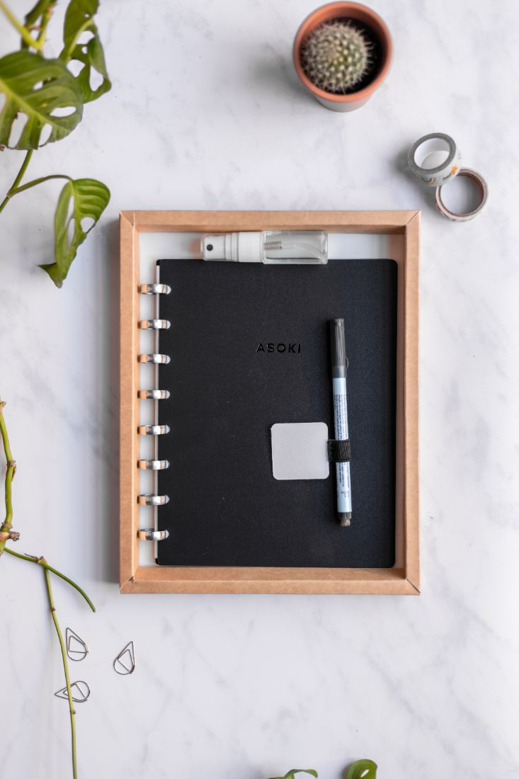 Zero Waste Asoki Planner Metal Edition with black cover and silver ring binding