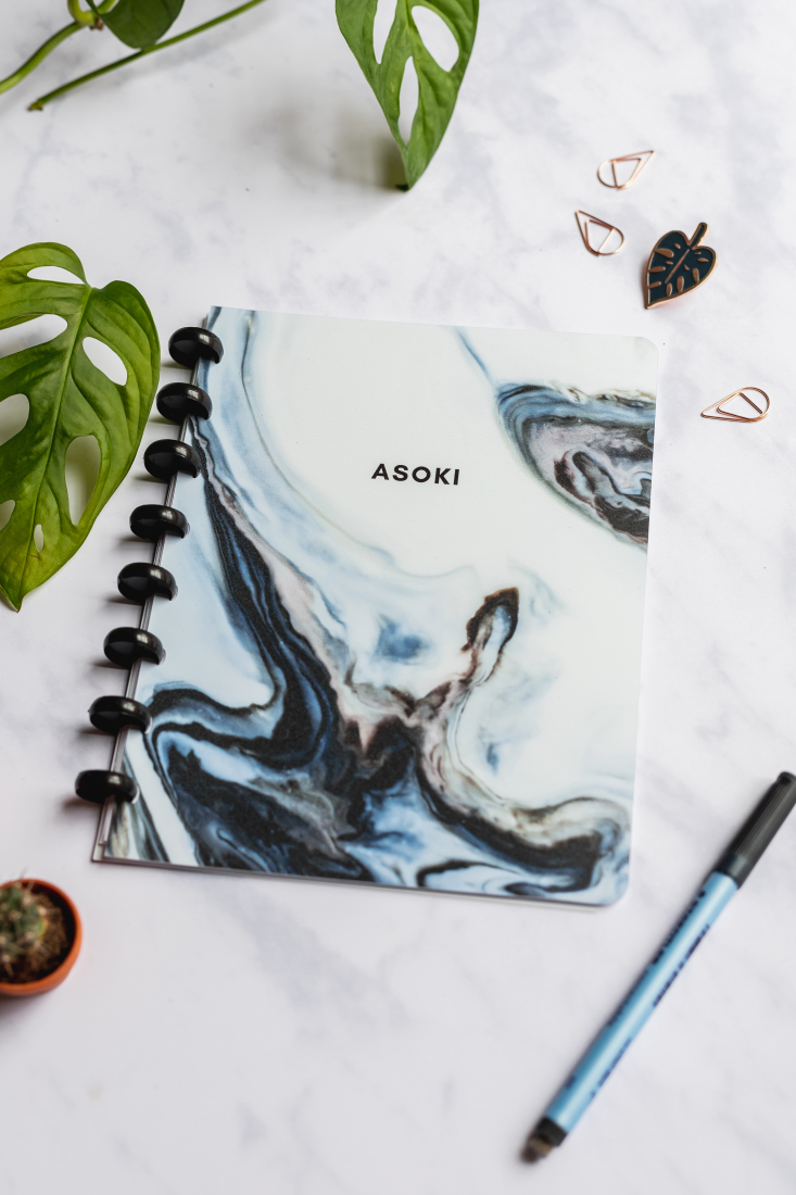 Reusable and erasable Asoki Planner with a marbled blue cover