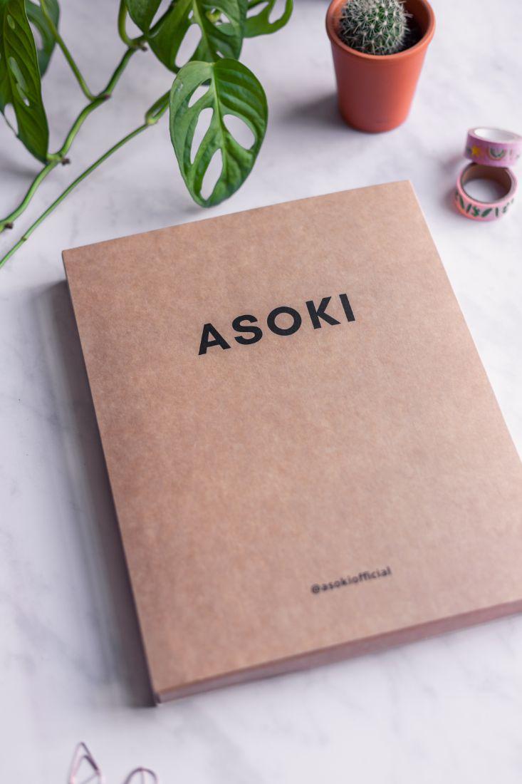 Plastic free packaging for the branded Asoki Planner
