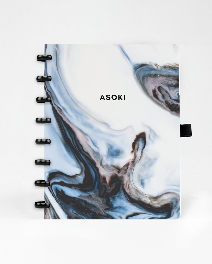 Erasable and reusable Asoki Planner with a marbled blue cover