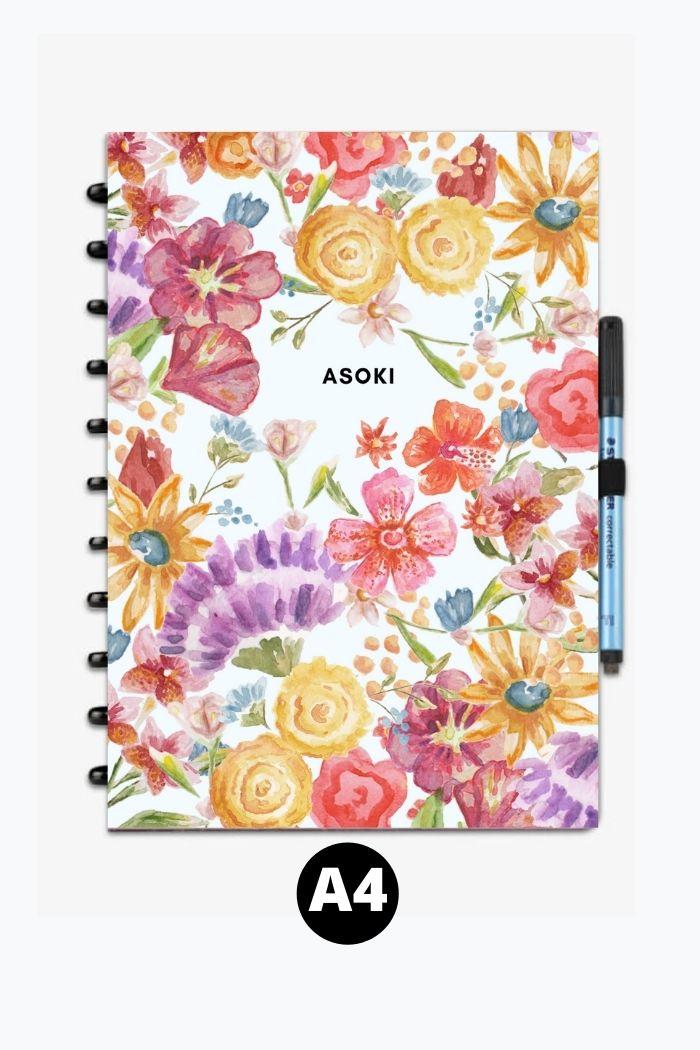 Reusable notebook A4 asoki colourful