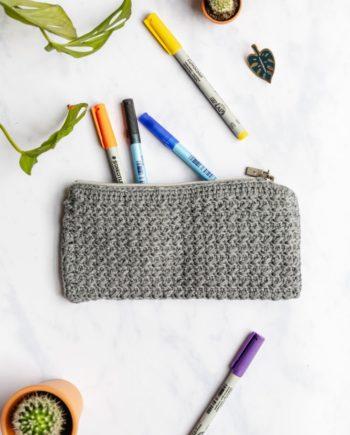 Flat grey cotton crochet pencil case