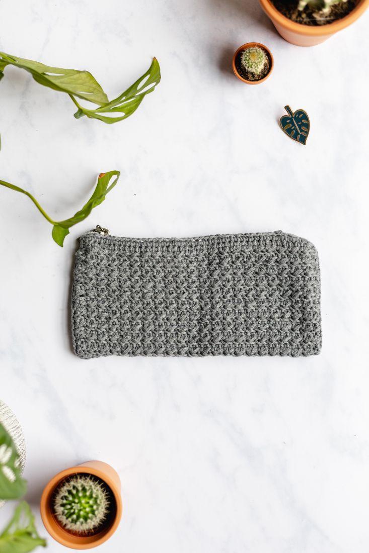 Grey handmade pencil case with zipper