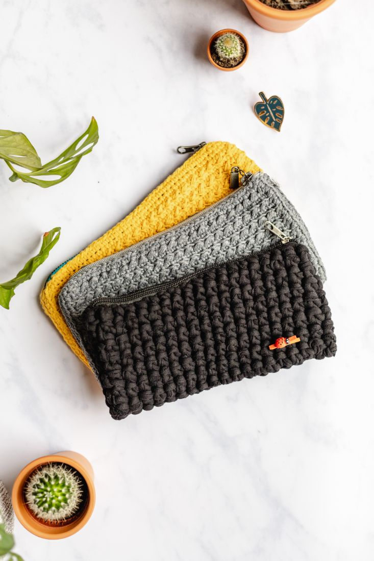 Handmade cotton pencil cases, black, grey and yellow