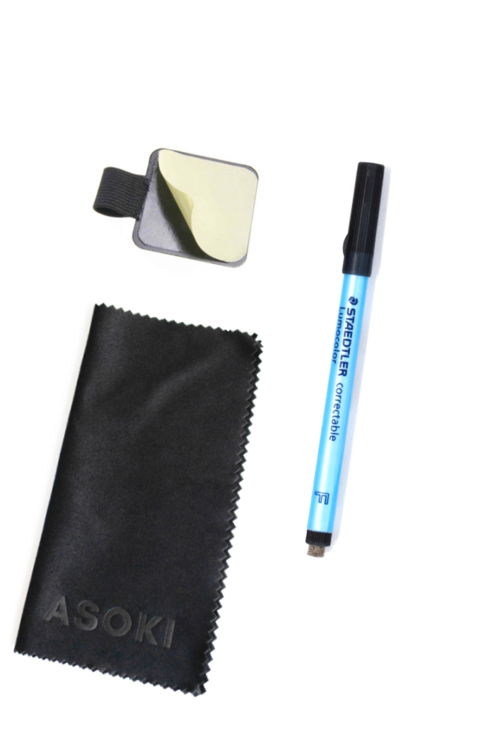 Erasable pen with erase wipe and sticky pen loop