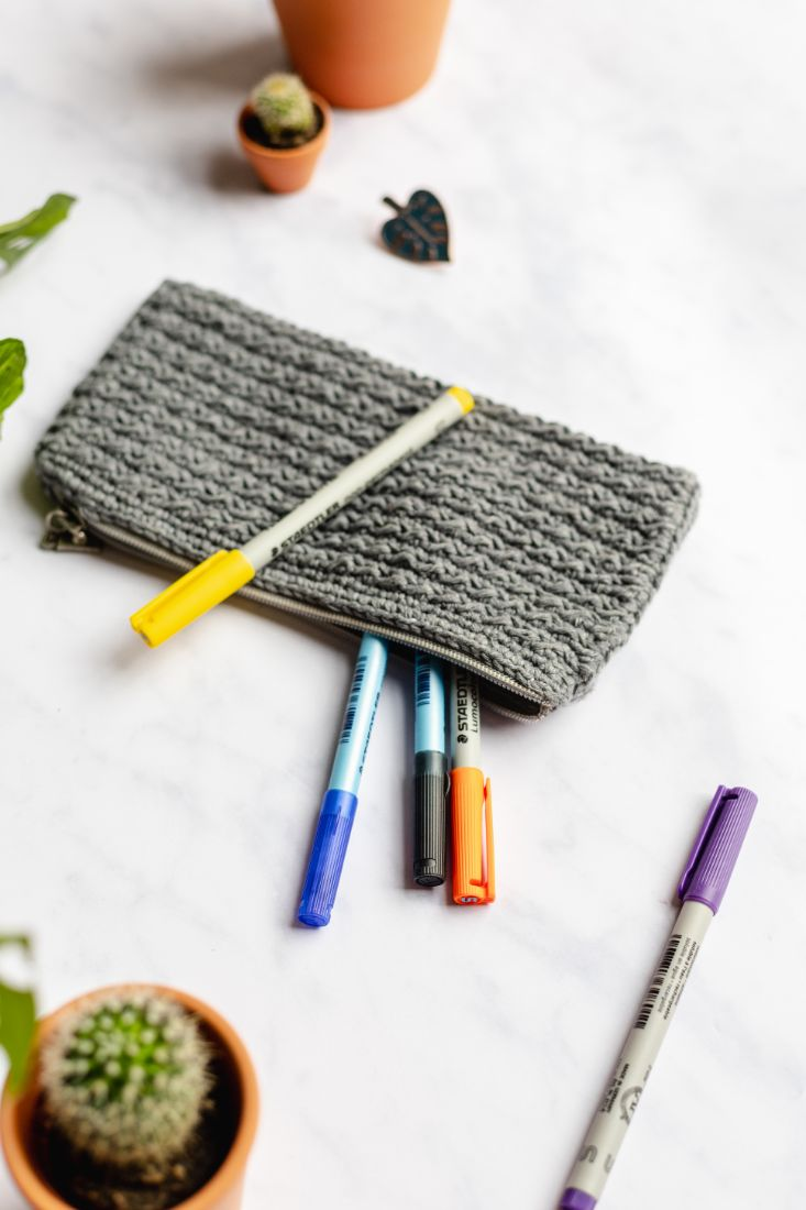 Flat grey, cotton, handmade pencil case with zipper for your pens