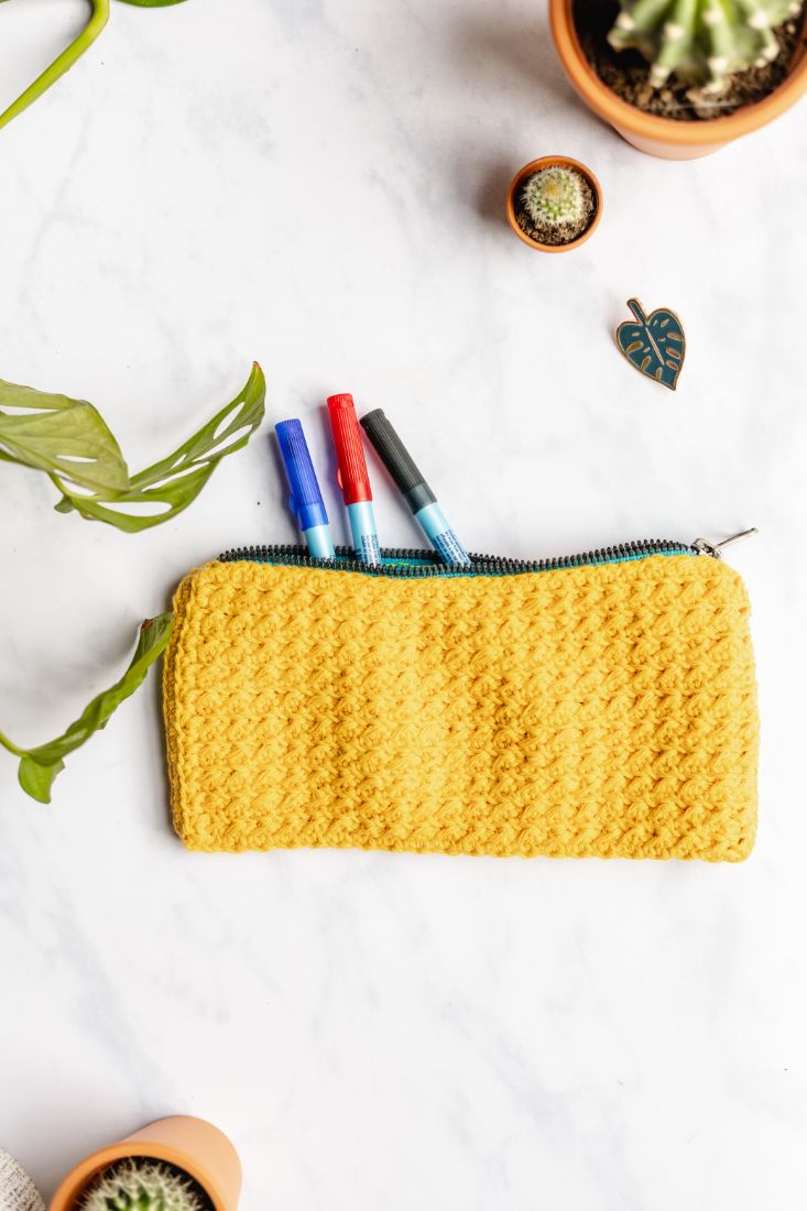 Hand made cotton yellow pencil case