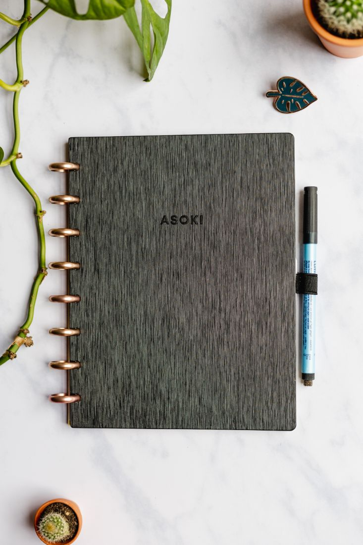 Reusable notebook with metall-design hardcover and roségold disc binding