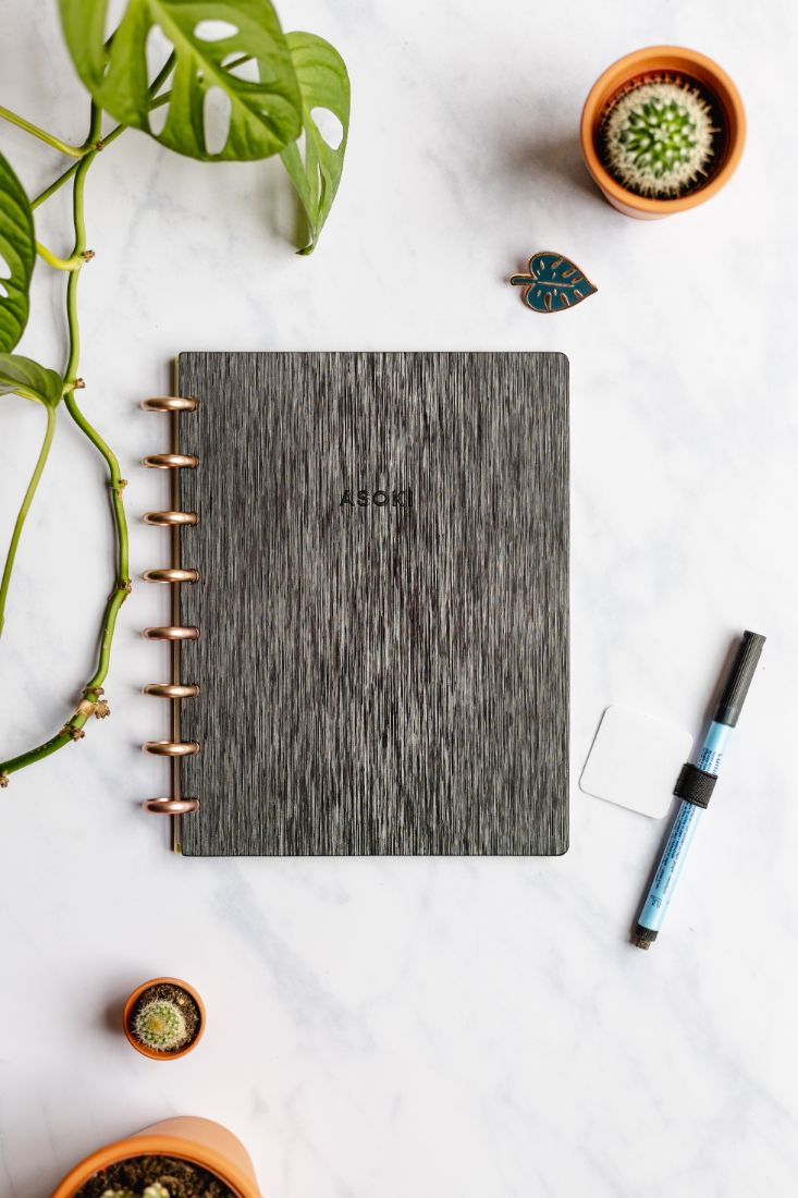 Reusable notebook with dark hardcover