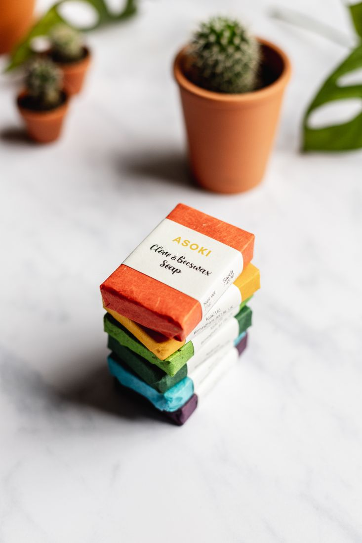 Mini soaps with colorful packaging as a gift set